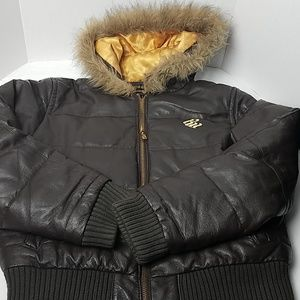 Rocawear hooded brown and gold leather coat